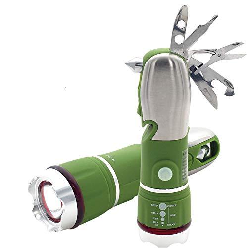 LEMEC Linterna Navaja Multiusos, Herramienta Multiuso Inoxidable 8 en 1 | Tijeras Plegables & Cuchillo | Destornillador & Linterna | Herramientas de Acero Inoxidable