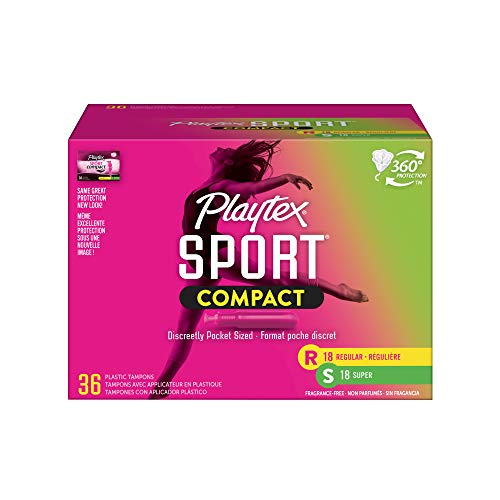 Playtex Sport Compact Athletic Tampons Regular amp Super Absorbency MultiPack of 36 Tampons