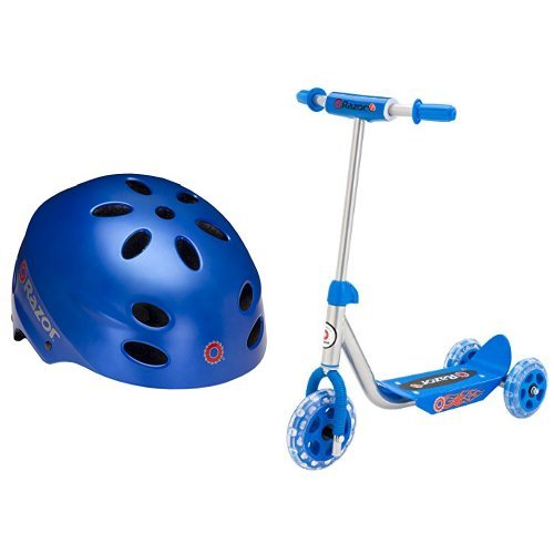 Amazing Deal Razor V-17 Child Multi-Sport Helmet, Satin Blue and Razor Jr. Lil' Kick Scooter - Blue ...