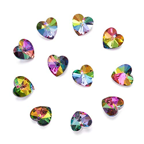 100Pcs Rainbow Colorful Electroplated Faceted Glass Love Heart Charms 14x14mm with Silver Plated Back for DIY Jewelry Craft Making