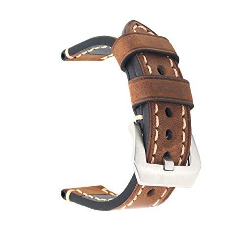 Ersatz-Uhrenband, echtes Leder, für Armbanduhr, Vintage-Stil, für Herren/Frauen, mit Edelstahlschnalle, schwarz/braun, 20mm/22mm/24mm, braun, 24 mm