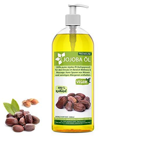 Huile de Jojoba pressée à froid 1l (1000ml) - 100% Pure - MyThaiMassage Premium - Naturelle & végétalien - soin pour Cheveux, Corps, Peau - Massage cosmétique - Jojoba Oil