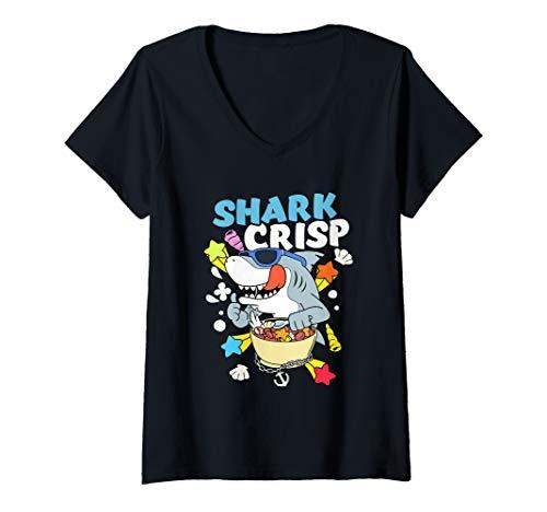 Damen Hai Müsli Zerealien Frühstück Monster Fisch Cornflakes T-Shirt mit V-Ausschnitt