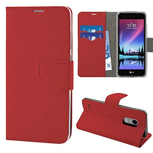 N NEWTOP Cover Compatibile per LG K4 2017, HQ Lateral Custodia Libro Flip Chiusura Magnetica Portafoglio Simil Pelle Stand (Rossa)