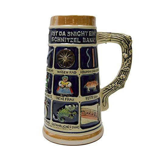 Beer Stein German Schnitzelbank Song Beer Mug by E.H.G   .9 Liter
