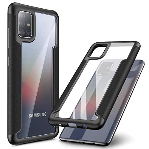 INFILAND Galaxy A51 Case, Compatible with Samsung Galaxy A51 Phone 2020 Release ONLY, Edge Protective Case with Transparent Back, Black