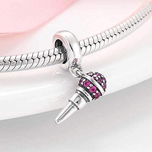 Charm Kralen,Nieuwe 925 Sterling Zilver Microfoon Vorm Roze Kralen Passen Originele Charms Armband Bangles Diy Sieraden Maken