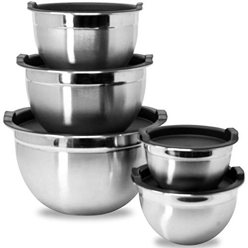 Meal Prep Stainless Steel Mixing Bowls Set, Home, Refrigerator, and Kitchen Food Storage Organizers | Ecofriendly, Reusable, Heavy Duty By WHYSKO (With Black Lids)