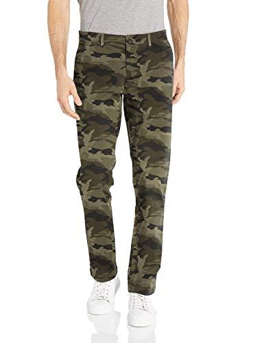 Marca Amazon – Goodthreads – «El pantalón chino perfecto»; pantalón chino de corte entallado, lavado, cómodo y elástico para hombre, verde camuflaje, 35W x 30L