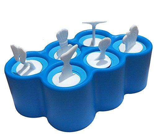 GMM Eisform für Kinder Eiszubereiter, 6 Stück Stieleisform Yogurt from (Blau)