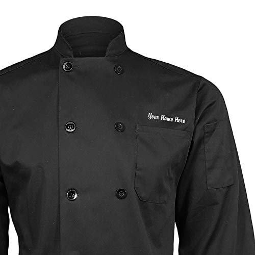 ChefsCloset Personalized Black Embroidered Chef Coat Customized Chef Jacket Large
