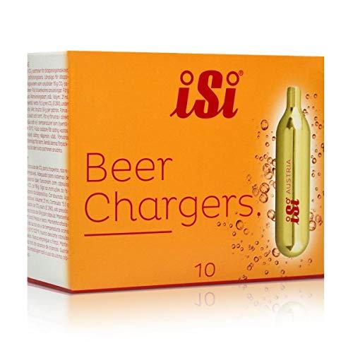 iSi Beercharger, Bierkapseln, 10 Stück, CO2 Kartuschen passend für viele Wassersprudler, Für gängige Bierzapfanlagen, 16g Kohlensäurekapseln, Partykeller Zubehör, CO2 Kapseln 16g