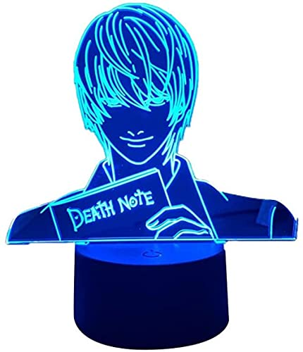HMWL Yagami Luz Figura Luz Luz Noche Luz Anime Lámpara de Nota De Muerte para Niños Dormitorio Decoración Iluminación Iluminación Sala de Niños Noche
