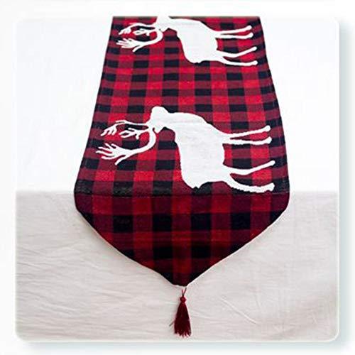 Panamami Kerstmis Katoen Linnen Tafel Runner Tafel Vlag Tafelkleden Party Decoratie Tafelmat Kerst Decoraties voor Thuis - Rood Plaid Elk