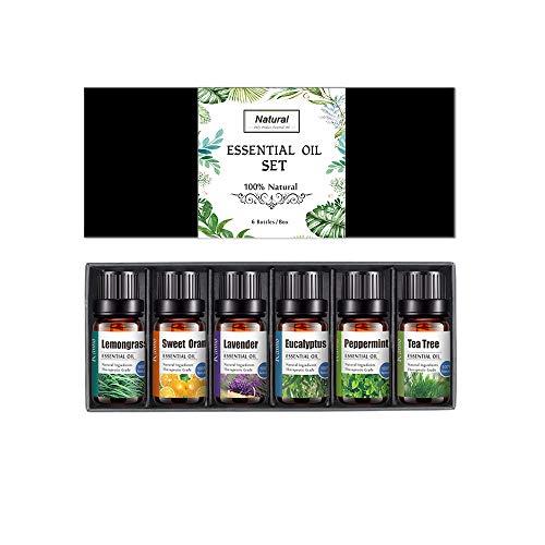Set de aceites esenciales, 6 x 10 ml 100% Natural Puro Aromaterapia Aceite Aromático, (Lavanda, Hierba de Limón, Menta, Eucalipto, Árbol de té, Naranja dulce) para Humidificador y Difusor Aroma