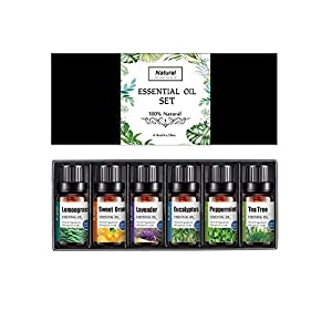 6 * 10ml Aceites Esenciales, Hatonky 100% Puro Natural Set de Regalo de Perfume de Aceites,-Naranja Dulce, Lavanda, Arbol de Té, Hierba de Limón, Eucalipto y Menta para Humidificador y Difusor Aroma