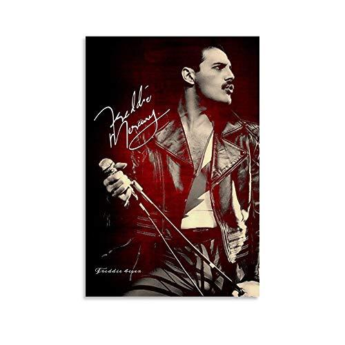 AISHNI Freddie Mercury Aero Leather (2) Poster decorativo su tela da parete per soggiorno, camera da letto, 30 x 45 cm