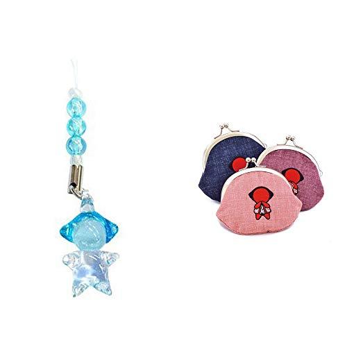 [2点セット] ガラスのさるぼぼ 手作りキーホルダー 【青】・おねがいさるぼぼ がまぐち【ピンク】