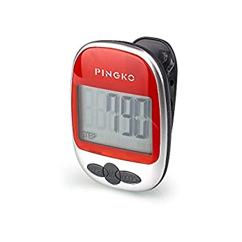 PINGKO Best Pedometer for Walking Accurately Track Steps Multi-Function Portable Sport Pedometer Step/Distance/Calories Counter Fitness Tracker - Red