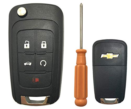 Replacement Keyless Entry Flip Folding Key Fob Case Shell Fit for 2010 2011 2012 2013 2014 Chevy Chevrolet Camaro Cruze Malibu Equinox Sonic Impala Remote Key Fob Cover (5 Buttons))