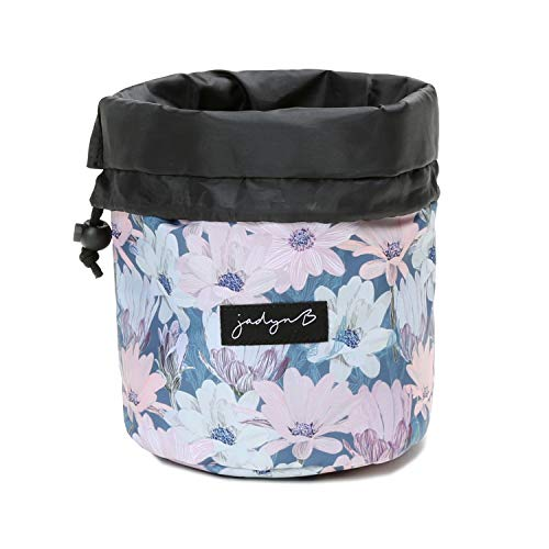 Jadyn B Cosmetic Bag - Cinch Top Compact Travel Makeup Bag and Cosmetic Organizer for Women, Blooming Daisy