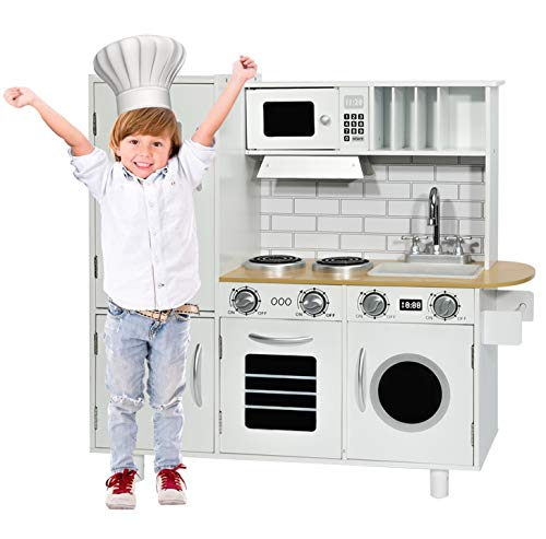 """HOMFY Kids Play Kitchen for Toddlers 32.2"""" Height Wooden Toy Kitchen Sets Pretend Kitchen Set with Sounds - White (Kitchen)"""