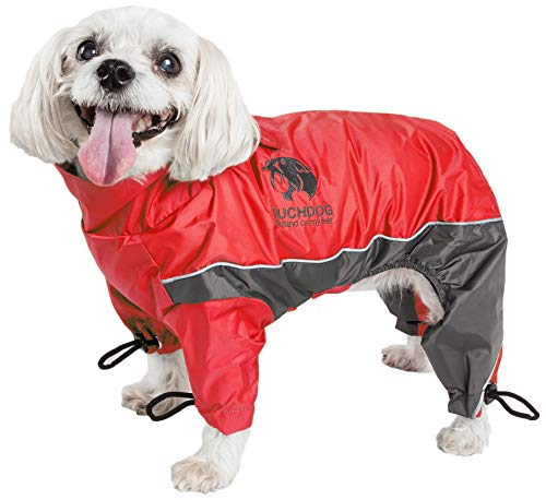 TOUCHDOG 'Quantum-Ice' Full Body Bodied Adjustable and 3M Reflective Pet Dog Coat Jacket w/ Blackshark Technology, Small, Red, Charcoal Grey
