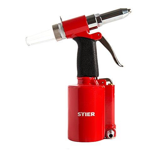 STIER Blindnietpistole SBN-1 für Nietgrößen von 2,4-4,8mm, inkl Mundstücke, Druckluft Nietpistole