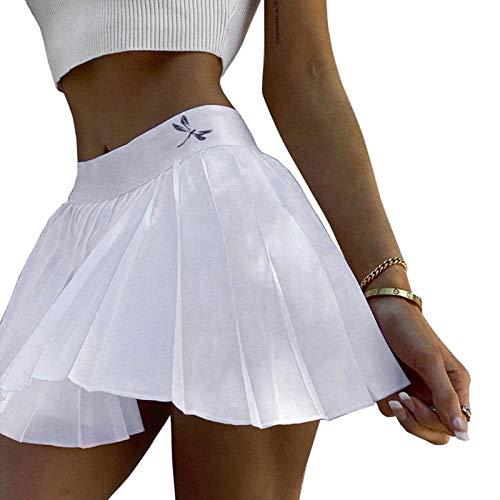 Caige Damen Schnell trocknender gefalteter Tennisrock,Weiß,S