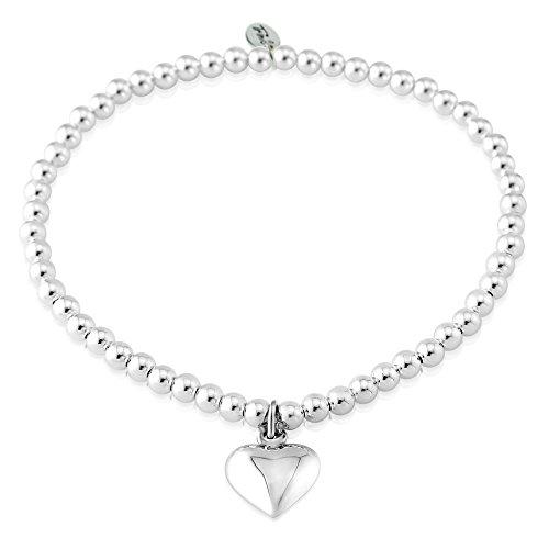 Trink Brand Puff Heart Sterling Silver Ladies Beaded Charm Bracelet