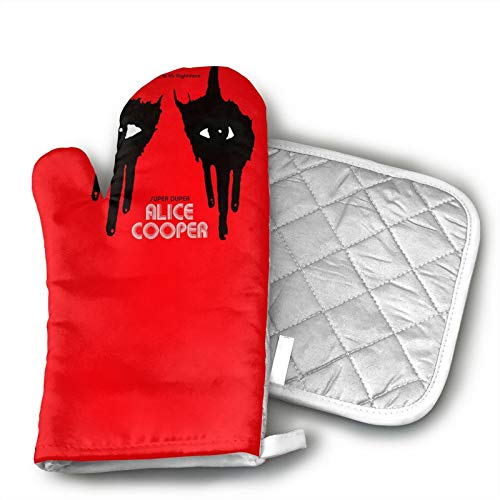 antcreptson Alice Cooper Flag Banner Polyester Set of Oven Mitt and Pot Holder for BBQ   Cooking   Baking   Grilling   Microwave   Barbecue