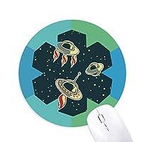 宇宙とエイリアン 円形滑りゴムの雪マウスパッド