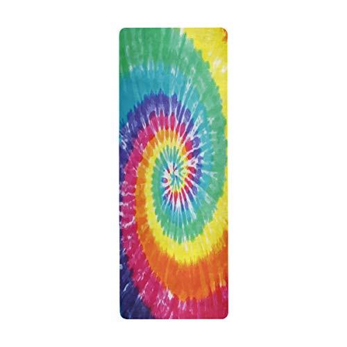 Alarge Yogamatte Tribal Ethnic Rainbow Tie Dye-Wirbel, rutschfest, schweißabsorbierend, Knieschoner für Yoga, Gymnastik, Pilates, Bodenübungen, 180 x 66 cm, mit Tragetasche