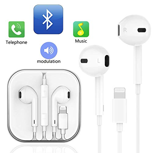 NCLINGLU Earphones,with Microphone Earbuds Stereo Headphones and Noise Isolating Headset Made Compatible with iPhone XS/XR/X/8/7 Earphones(White)