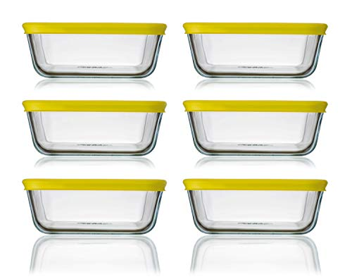 Pyrex Cook n Fresh - Square Storage Set - Set of 6 Dishes with Yellow Plastic Lids - 6X 0.85L (Dimensions: L15 x W15 x H6 cm)