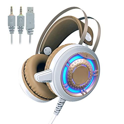 ruisonderdrukking LED over-ear pC-gaming headset (Noise cancelling koptelefoon met microfoon) voor PC, PS4, Xbox One, Nintendo-Switch, Mac, laptop, smartphone USB-speelhoofdtelefoon (maat: C)