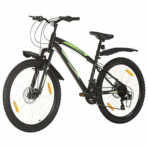 Qnotici Bicicleta de montaña 26 Pulgadas Ruedas Tren de transmisión de 21 velocidades, Altura del Cuadro 42 cm, Negro