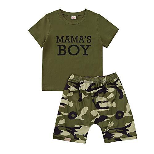 Conjunto de niño/niña de verano camiseta con letras impresas 'Mama 's Girl/Boy 'a manga cuello redondo + pantalones cortos completo camuflaje para camuflaje