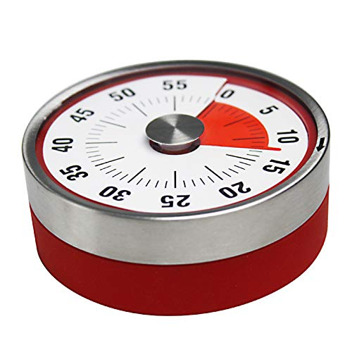 Magnetic Kitchen Timer 60-Minute Visual Timer for Cooking ,NO Battery Manual Countdown Timer for Kids and Adults, Portable Timer is Used for Cooking /Loga/Learning/Fitness/Beauty...(Red)