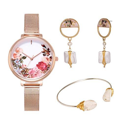 GPWDSN Relojes para Mujer con Joyas Conjuntos de Pendientes Pulsera Reloj de Pulsera para Mujer Reloj de Moda para Mujer Vestido para niñas Movimiento de Cuarzo Correa de Acero (Color: A)