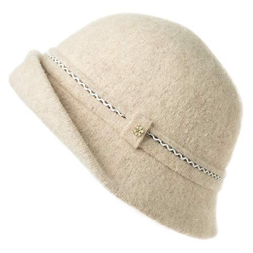 Fancet Faltbarer Glockenhut Damen 60% Wolle Fedora warme Bucket Vintage Beige