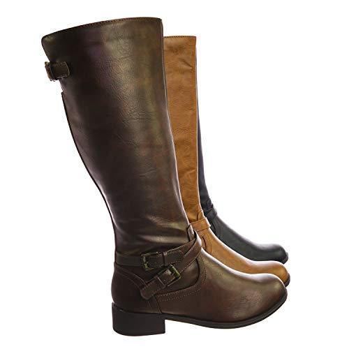 SODA Women Knee High Buckled Riding Small Heel Flat Boots Side Zipper BIO-S Brown 10