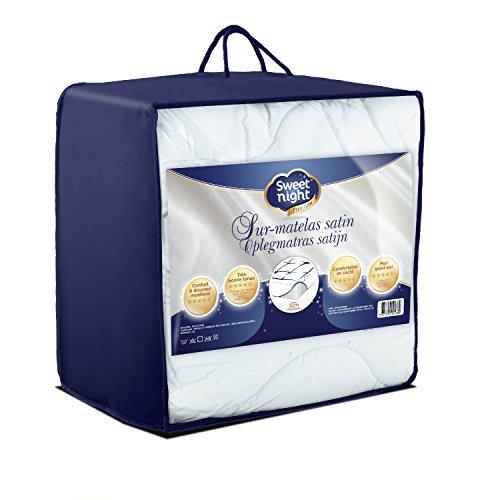Sweetnight - 028978 Surmatelas Luxe Ultra Moelleux et Confortable | Enveloppe 100% Coton - Blanc - 90x190/200 cm