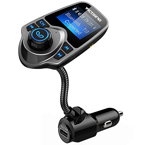VicTsing Bluetooth FM Transmitter, Wireless In-Car Radio Transmitter Adapter /w USB Port, Support AUX Input 1.44 Inch Display TF Card Slot - Silver Grey