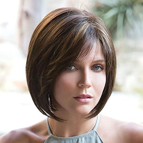 12 Inches/30cm Women Short Straight Cosplay Party BOB Wig (Brown)