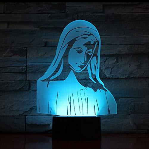 Elemento de moda decoración del hogar lámpara de mesa 3D regalo LED acrílico USB fe cristiana decoración de la iglesia pequeña lámpara de mesa LED, luz táctil inteligente