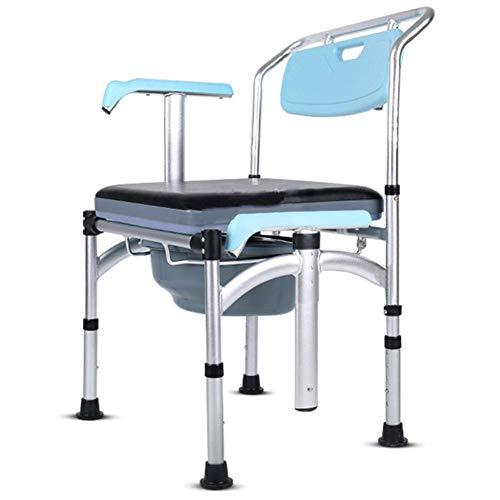 ZXL Commode voor ouderen, stoel, badkamerstoel, potje, mobiel, nachtkastje, commode, aluminiumlegering, frame heffen en verzonken leuning, antislip deurmat