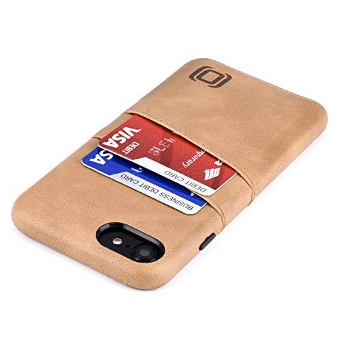 Dockem Funda Tipo Cartera para iPhone SE 2, iPhone 8/7 con Placa de Metal Integrada para Montaje Magnético y 2 Ranuras para Tarjetas de Crédito (M2, Caqui, Exec Piel Sintética Lisa)