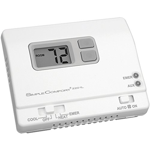 ICM Controls SC2201L Simple Comfort Non-Programmable Thermostat with Backlit Display for Two-Stage Heat/Single-Stage Cool HP Only, Manual Changeover, Hardwired