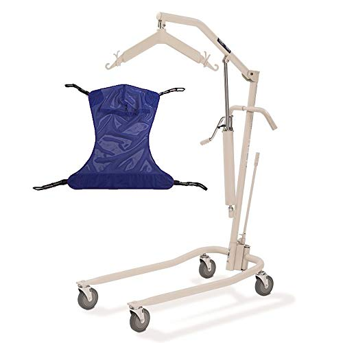 Invacare Painted Hydraulic Lift with Full Body R110 (Medium) Mesh Sling | 450 lbs. weight capacity | 9805P model